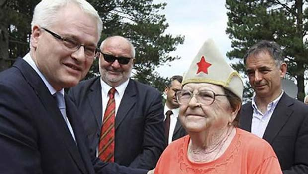 Croatian president Ivo Josipovic celebrating the partisans